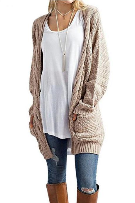 Women Long Knitted Cardigan Long Sleeve Pockets Sweater Autumn Loose Open Stitch Coat khaki