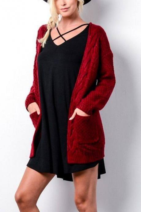 Women Long Knitted Cardigan Long Sleeve Pockets Sweater Autumn Loose Open Stitch Coat crimson