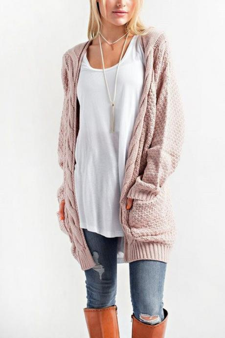 Women Long Knitted Cardigan Long Sleeve Pockets Sweater Autumn Loose Open Stitch Coat pink