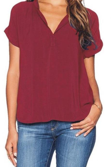 Women Asymmetrical T Shirt Plus Size Short Sleeve V Neck Solid Summer Casual Loose Tops wine red