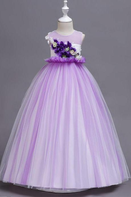 Princess Long Flower Girl Dress Sleeveless Teens Wedding Ceremony Party Gowns Children Clothes purple