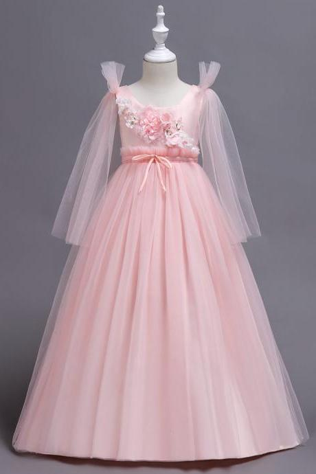 Princess Long Flower Girl Dress Teens Wedding Birthday Ceremony Party Gowns Children Clothes pink