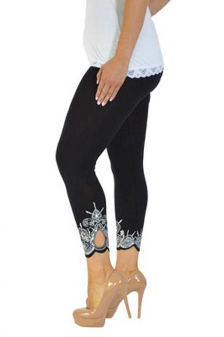 Women Leggings Floral Lace Hollow Out Slim Skinny Casual Plus Size Pencil Pants black