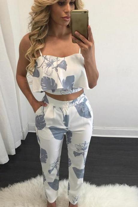 Two Piece Set Women Floral Printed Crop Top+Long Pants Casual Summer Party Club Outfits blue-gray