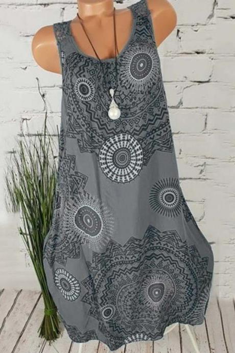 Women Floral Printed Sleeveless Dress Summer Beach Casual Club Party Boho Mini Sundress gray