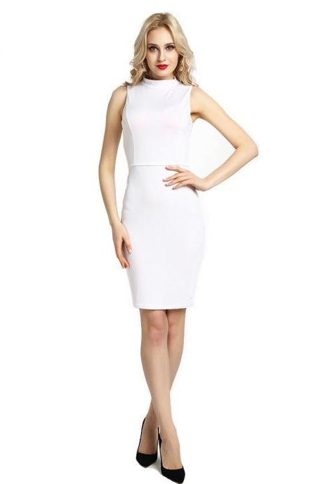 Women Pencil Dress Open Back High Neck Sleeveless Casual Bodycon Short Club Party Dress off white