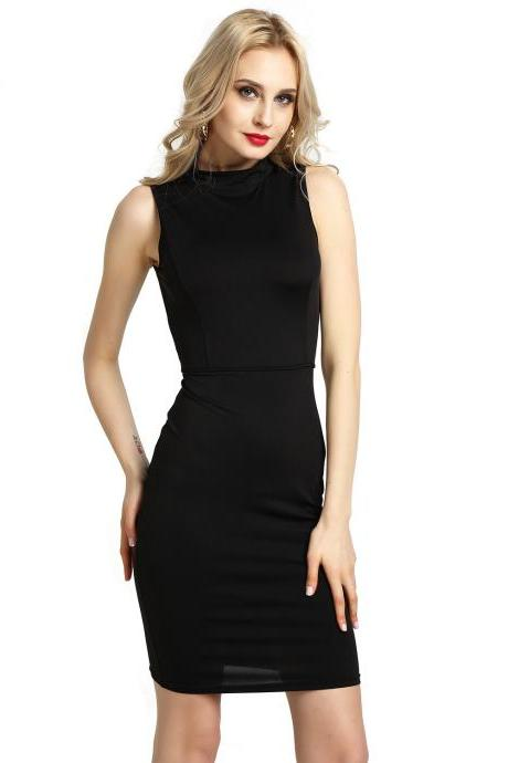 Women Pencil Dress Open Back High Neck Sleeveless Casual Bodycon Short Club Party Dress black