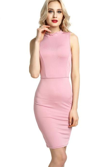 Women Pencil Dress Open Back High Neck Sleeveless Casual Bodycon Short Club Party Dress pink