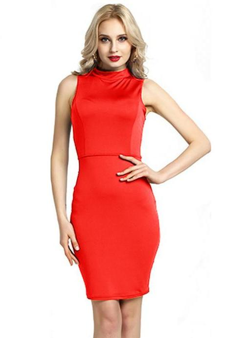 Women Pencil Dress Open Back High Neck Sleeveless Casual Bodycon Short Club Party Dress red