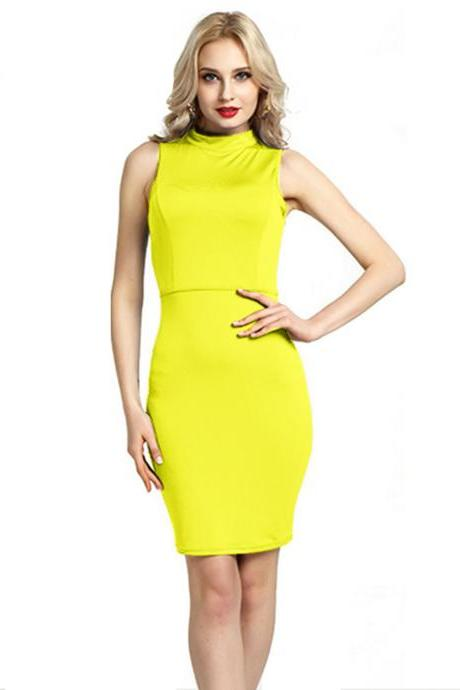 Women Pencil Dress Open Back High Neck Sleeveless Casual Bodycon Short Club Party Dress yellow