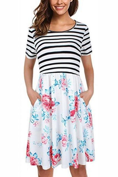 Women Floral Printed Casual Dress Short Sleeve Striped Patchwork Pocket Summer Beach Boho Dress off white 1#