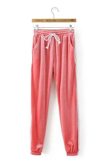 Sweatpants Women Sport Pants Joggers Casual Harlan Yoga Gym Side Striped Pleuche Drawstring High Waist Lady Femme Trousers pink