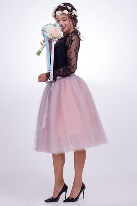 6 Layers Multi Color Tulle Midi Skirt Women Fashion Adult Tutu Skirts Mesh Bridesmaid Wedding Party Skirt gray+pink