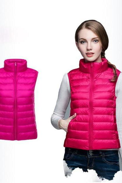 Women Sleeveless Waistcoat Winter Ultra Light Duck Down Vest Female Slim Jacket Packable Warm Coat hot pink