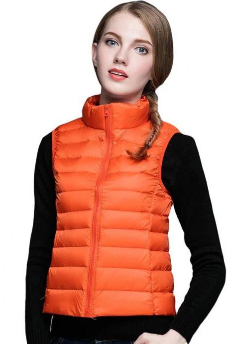 Women Sleeveless Waistcoat Winter Ultra Light Duck Down Vest Female Slim Jacket Packable Warm Coat orange