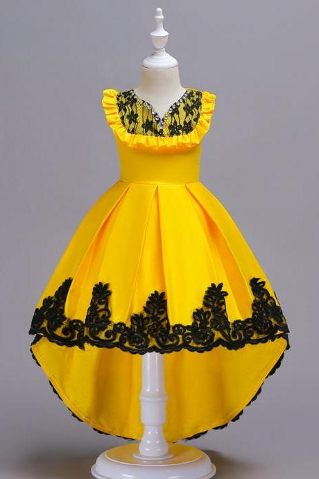 High Low Flower Girl Dress Sleeveless Lace Formal Birthday Party Gown Kids Children Clothes yellow