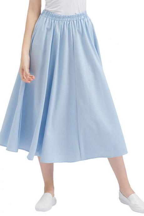 Women Midi Skirt Elastic High Waist Summer Below Knee Casual A Line Skater Skirt baby blue