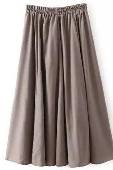Women Midi Skirt Elastic High Waist Summer Below Knee Casual A Line Skater Skirt gray