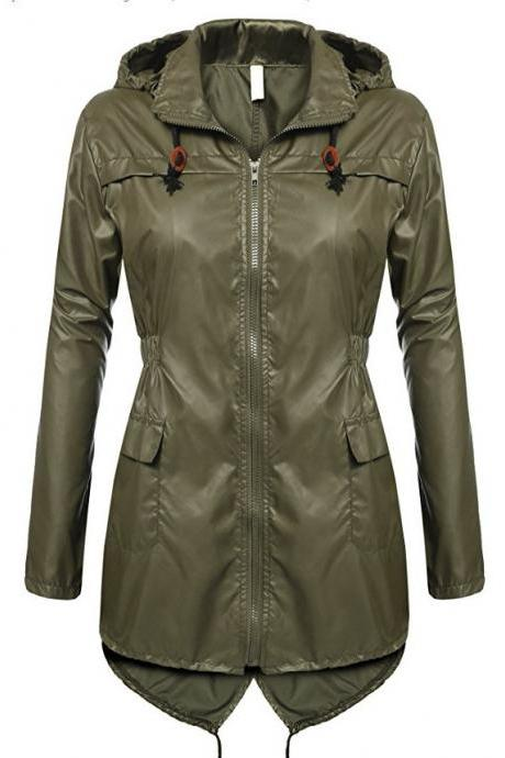 Women Raincoat Spring Autumn Hooded Long Sleeve Slim Fit Casual Waterproof Coat Jacket army green