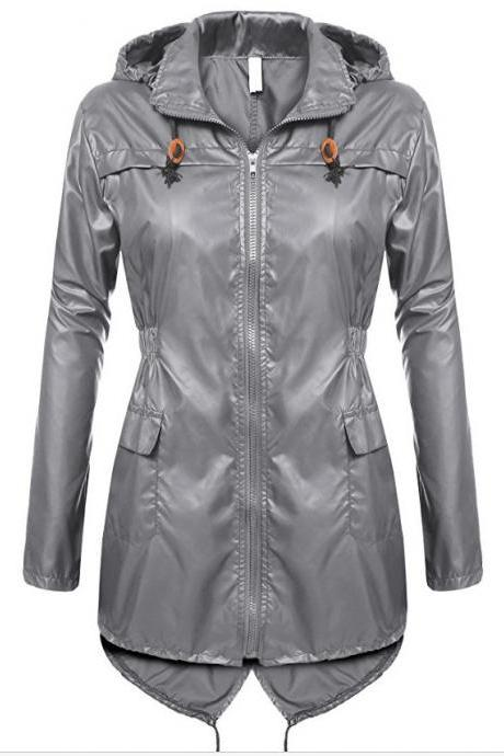 Women Raincoat Spring Autumn Hooded Long Sleeve Slim Fit Casual Waterproof Coat Jacket gray