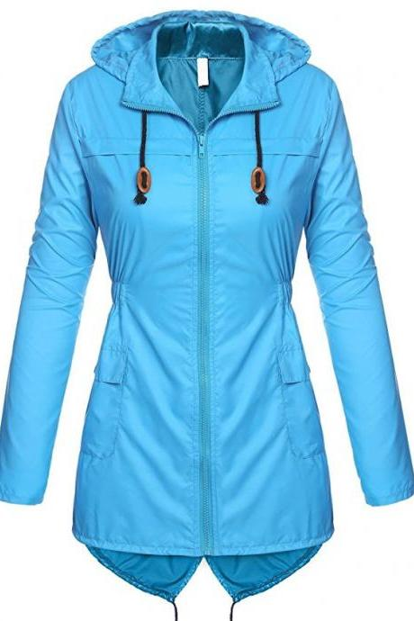 Women Raincoat Spring Autumn Hooded Long Sleeve Slim Fit Casual Waterproof Coat Jacket sky blue