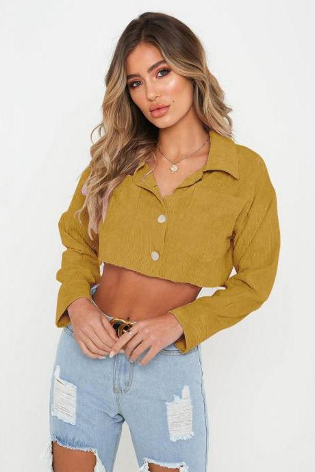 Women Lapel Denim Coat Autumn Long Sleeve Sexy Navel Single Breasted Short Jackets Outwear yellow