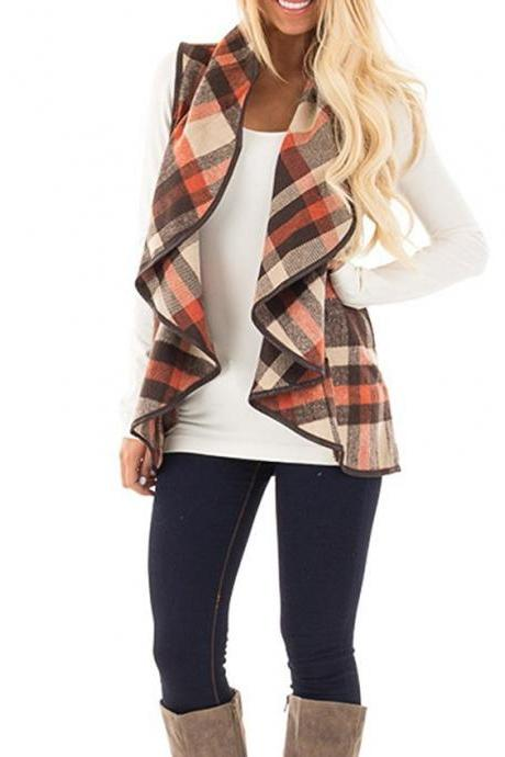 Women Plaid Waistcoat Spring Autumn Lapel Neck Casual Sleeveless Coat Cardigan Vest Jackets khaki