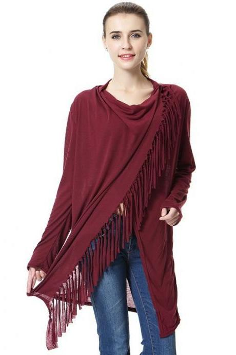 Women Asymmetrical Tassels Shawl Coat Ponchos Design Long Sleeve Scarves Casual Sweater Jacket burgundy