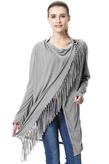 Women Asymmetrical Tassels Shawl Coat Ponchos Design Long Sleeve Scarves Casual Sweater Jacket gray