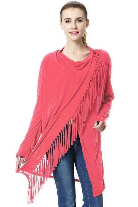 Women Asymmetrical Tassels Shawl Coat Ponchos Design Long Sleeve Scarves Casual Sweater Jacket red