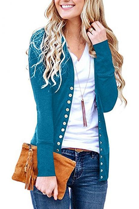 Women Cropped Cardigan V Neck Long Sleeve Button Slim Short Sweater Coat Jacket turquoise