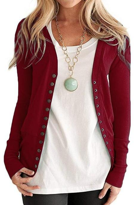 Women Cropped Cardigan V Neck Long Sleeve Button Slim Short Sweater Coat Jacket burgundy