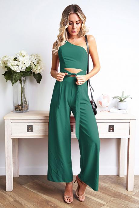 Women Wide Leg Jumpsuit One Shoulder Cut Out Tie Waist Casual Sexy Club Rompers green