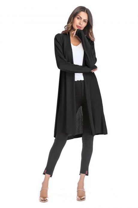 Women Knitted Cardigan Long Sleeve Solid Thin Casual Loose Long Sweater Coat Outerwear black
