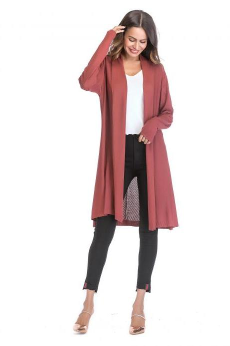 Women Knitted Cardigan Long Sleeve Solid Thin Casual Loose Long Sweater Coat Outerwear brick red