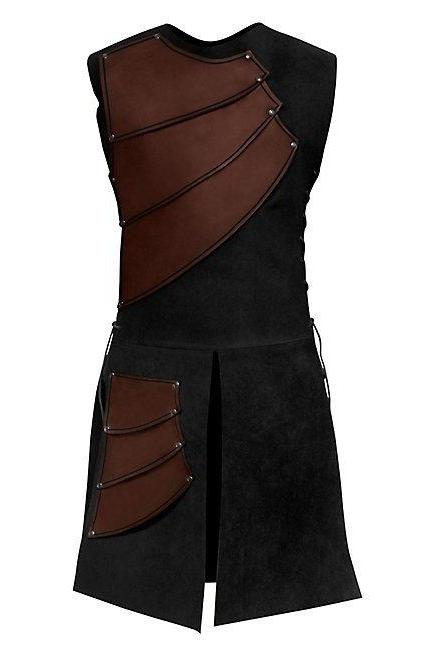 Men Costume Adult Sleeveless Patchwork Medieval Garments Middle Ages Cosplay Clothes brown