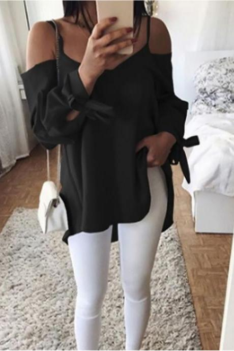 Women Blouse Long Sleeve Spaghetti Strap Casual Loose Plus Size Off the Shoulder Tops Shirt black