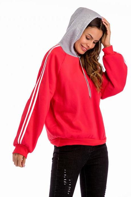 Women Hoodies Autumn Casual Long Sleeve Patchwork Loose Hooded Pullover Sweatshirts red