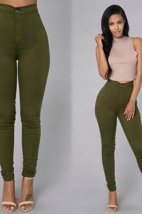 Women Pencil Pants Candy High Waist Casual Slim Female Stretch Skinny Trousers green
