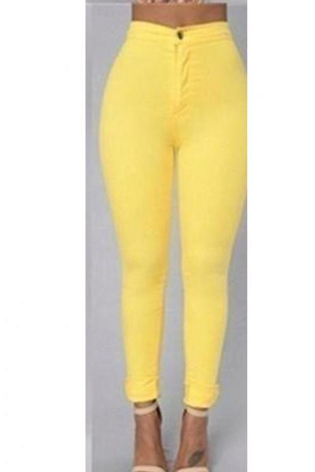Women Pencil Pants Candy High Waist Casual Slim Female Stretch Skinny Trousers yellow