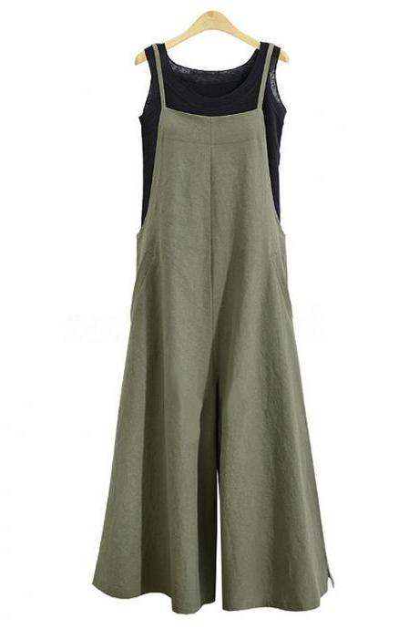 Women Wide Leg Jumpsuit Casual Loose Plus Size Strappy Pockets Long Overalls Pants Rompers army green