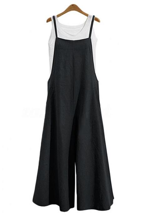 Women Wide Leg Jumpsuit Casual Loose Plus Size Strappy Pockets Long Overalls Pants Rompers black
