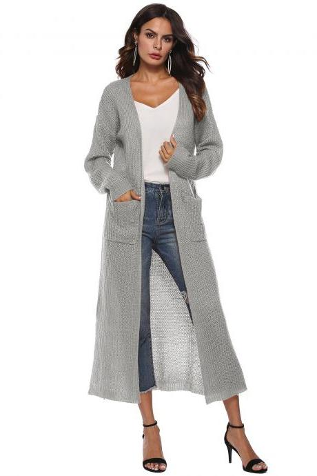Women Long Sweater Cardigan Autumn Casual Long Sleeve Open Stitch Pockets Side Split Coat Jacket gray