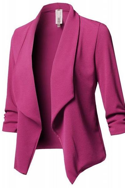 Women Suit Coat Casual Long Sleeve Autumn Work Office Business Slim Basic Long Blazer Jacket Outerwear hot pink