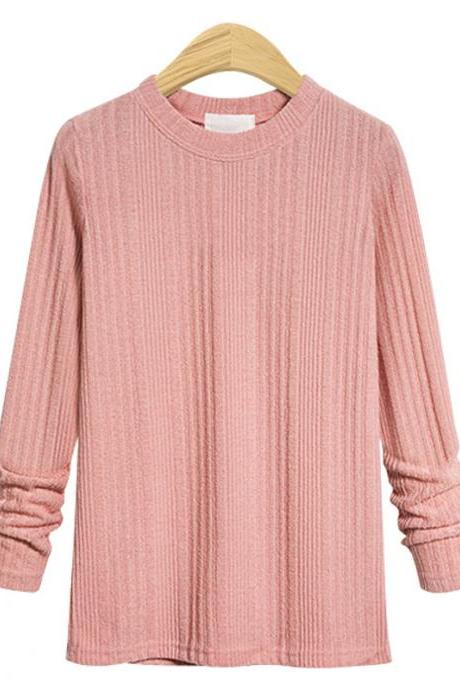 Plus Size Women Knitted Sweater Spring Autumn O Neck Long Sleeve Slim Pullover Tops pink
