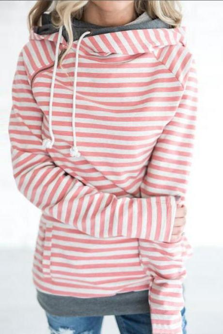 Women Striped Patchwork Hoodie Autumn Winter Casual Pullover Long Sleeve Pockets Hooded Sweatshirt 0608-orange