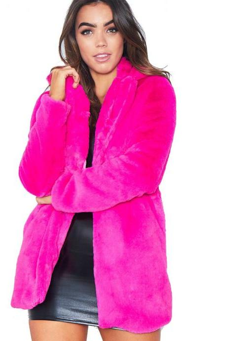 Women Faux Fur Coat Winter Long Sleeve Casual Warm Loose Open Stitch Jacket Cardigan Outwear hot pink