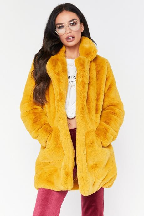 Women Faux Fur Coat Winter Long Sleeve Casual Warm Loose Open Stitch Jacket Cardigan Outwear yellow