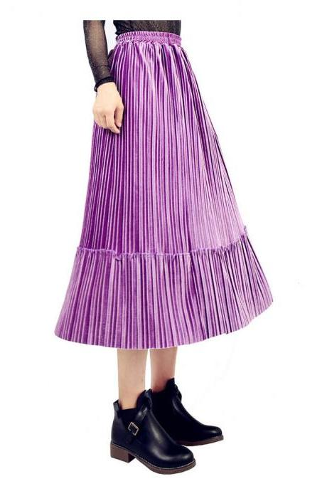 Women Velvet Pleated Skirt Autumn Winter Elastic High Waist Streetwear Below Knee Casual Midi Skirt purple