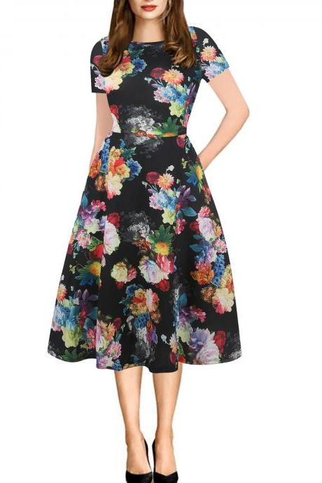 Women Floral Printed Slim Dress Vintage Short Sleeve Knee Length A-line Rockabilly Casual Party Dress 12#